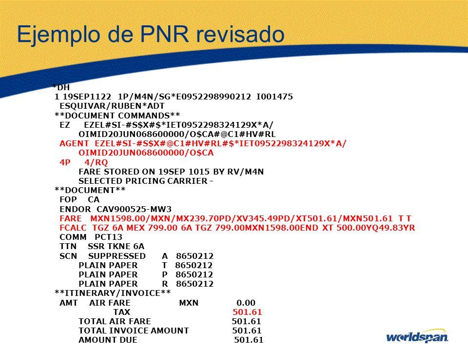 Ejemplo de PNR revisado