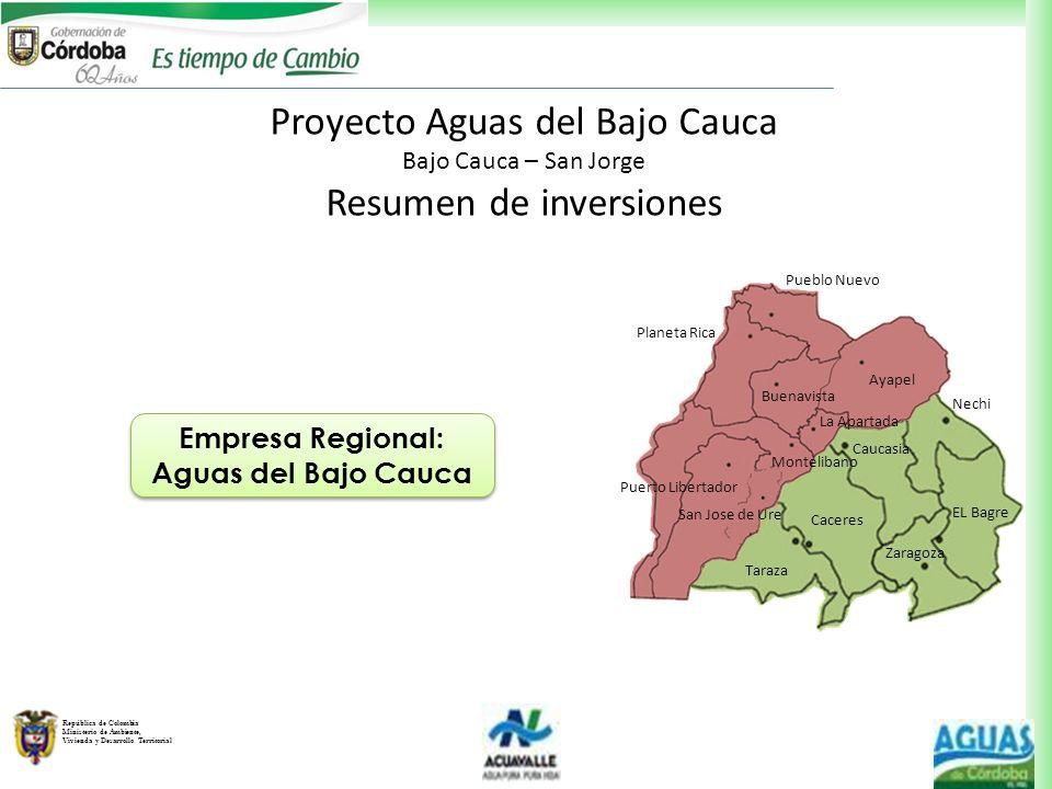 Proyecto Aguas del Bajo Cauca Resumen de inversiones