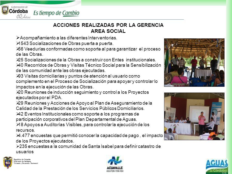 ACCIONES REALIZADAS POR LA GERENCIA AREA SOCIAL