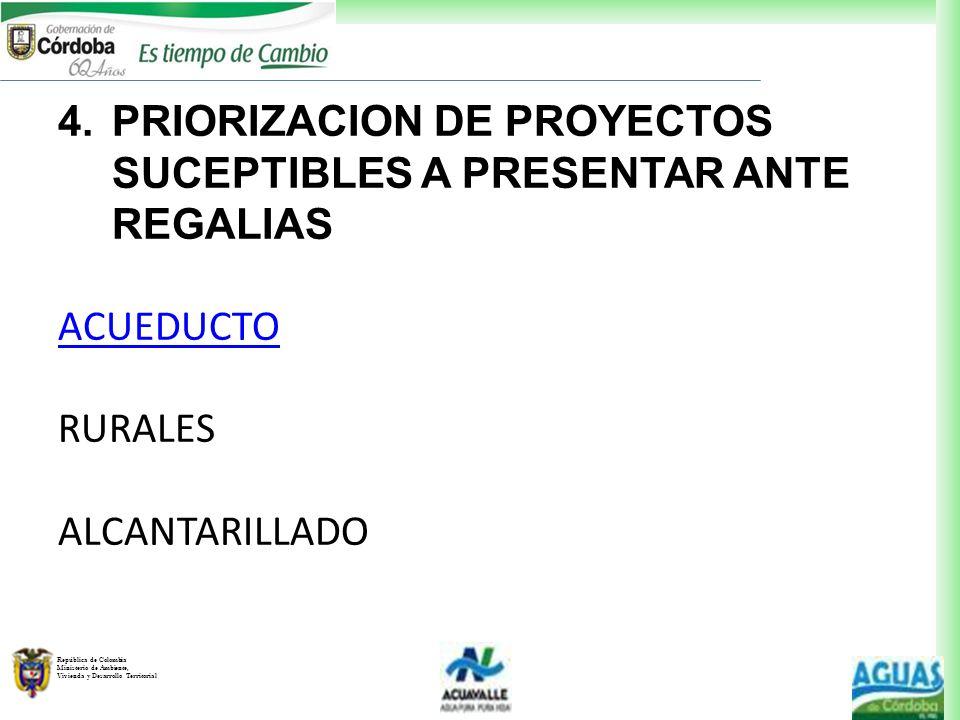 PRIORIZACION DE PROYECTOS SUCEPTIBLES A PRESENTAR ANTE REGALIAS