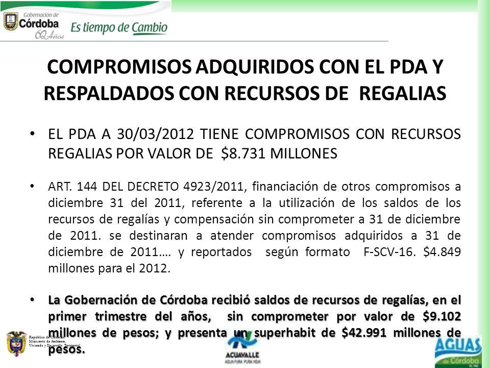 COMPROMISOS ADQUIRIDOS CON EL PDA Y RESPALDADOS CON RECURSOS DE REGALIAS