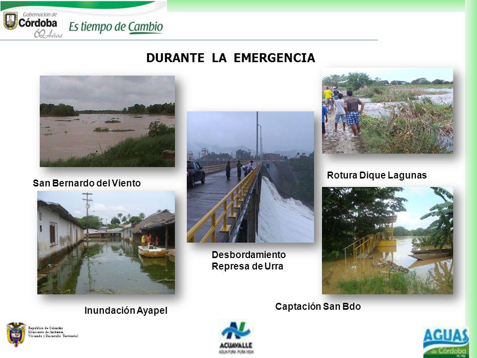 DURANTE LA EMERGENCIA Rotura Dique Lagunas San Bernardo del Viento