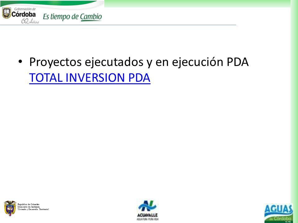 Proyectos ejecutados y en ejecución PDA TOTAL INVERSION PDA