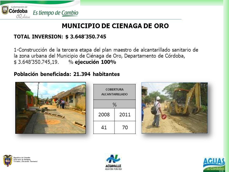MUNICIPIO DE CIENAGA DE ORO COBERTURA ALCANTARILLADO