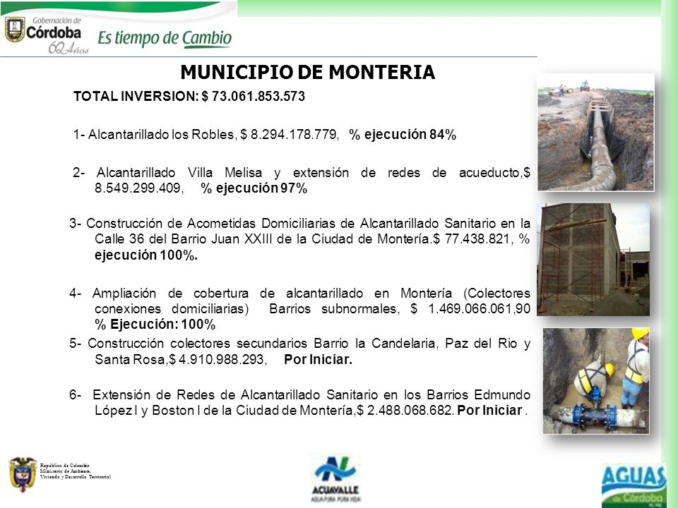 MUNICIPIO DE MONTERIA TOTAL INVERSION: $ 73.061.853.573