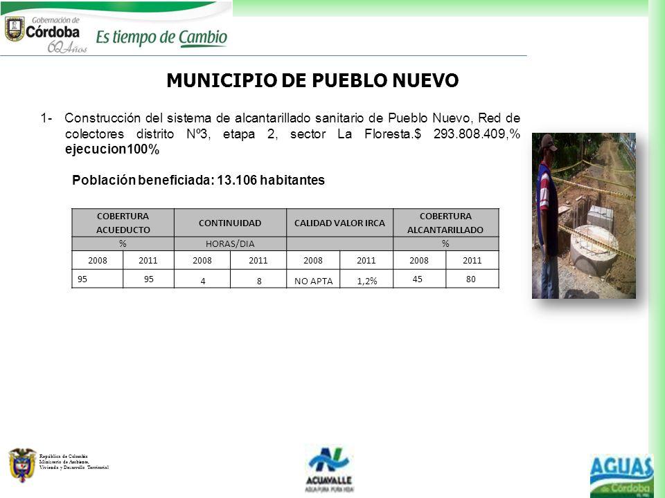 MUNICIPIO DE PUEBLO NUEVO COBERTURA ALCANTARILLADO