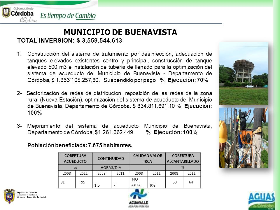 MUNICIPIO DE BUENAVISTA COBERTURA ALCANTARILLADO
