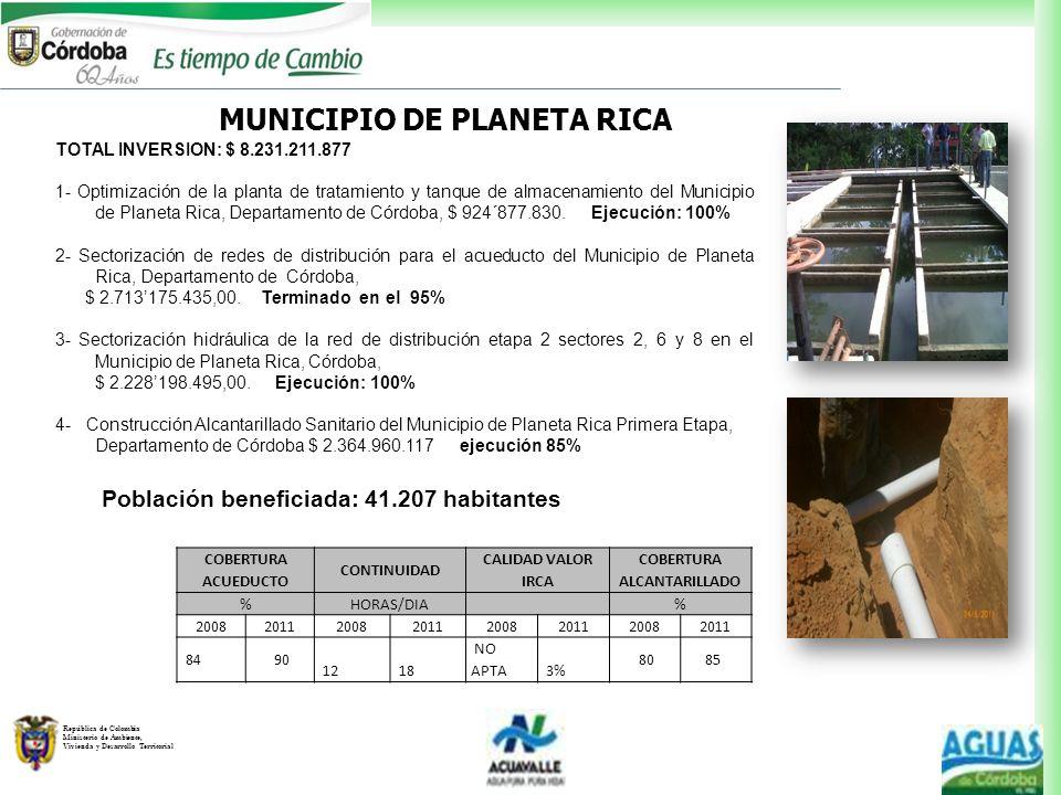MUNICIPIO DE PLANETA RICA COBERTURA ALCANTARILLADO