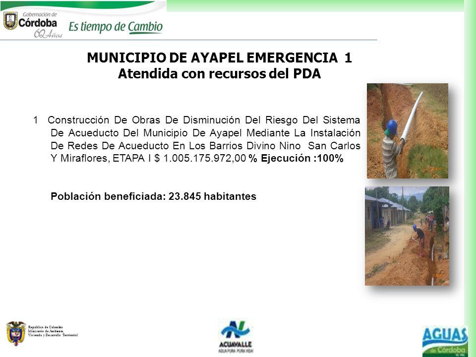 MUNICIPIO DE AYAPEL EMERGENCIA 1 Atendida con recursos del PDA