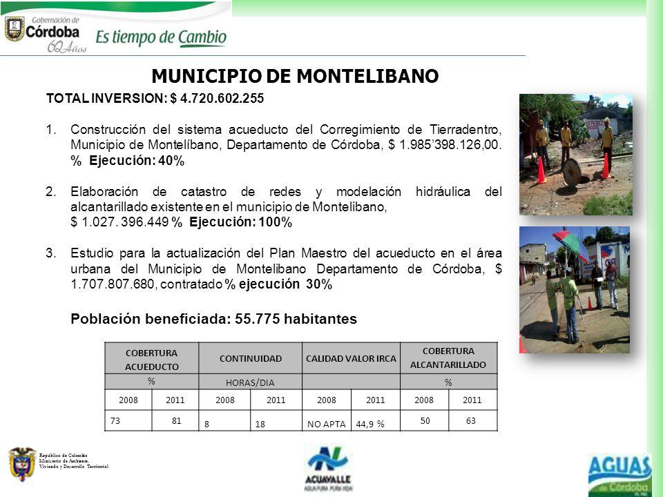 MUNICIPIO DE MONTELIBANO COBERTURA ALCANTARILLADO