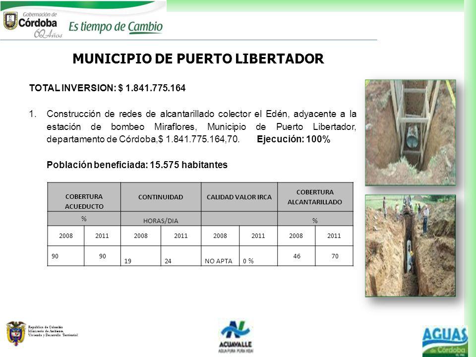 MUNICIPIO DE PUERTO LIBERTADOR COBERTURA ALCANTARILLADO