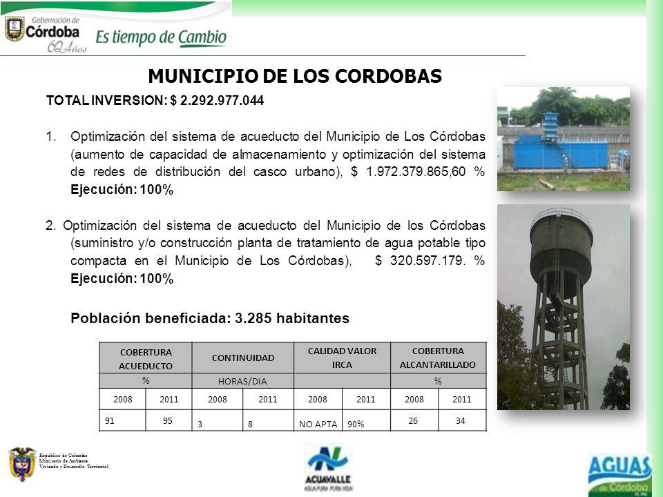 MUNICIPIO DE LOS CORDOBAS COBERTURA ALCANTARILLADO
