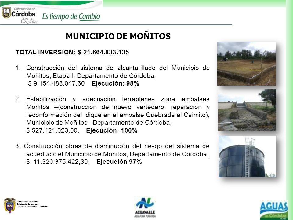 MUNICIPIO DE MOÑITOS TOTAL INVERSION: $ 21.664.833.135