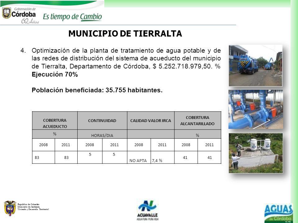 MUNICIPIO DE TIERRALTA COBERTURA ALCANTARILLADO