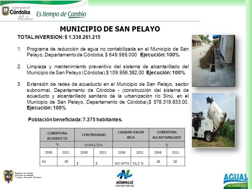 MUNICIPIO DE SAN PELAYO COBERTURA ALCANTARILLADO