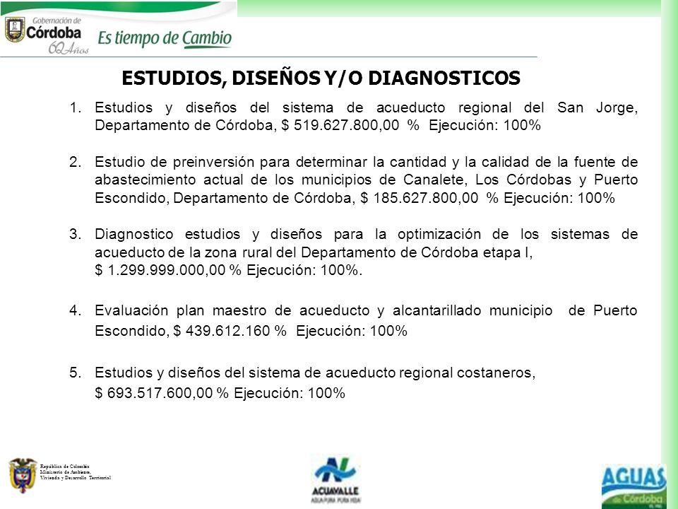 ESTUDIOS, DISEÑOS Y/O DIAGNOSTICOS