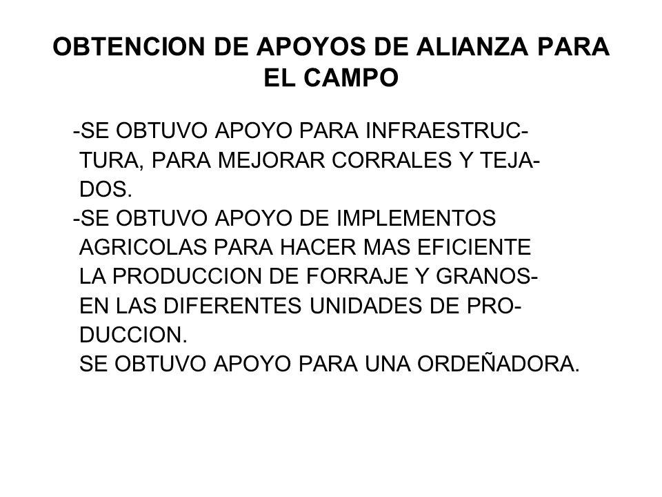 OBTENCION DE APOYOS DE ALIANZA PARA EL CAMPO