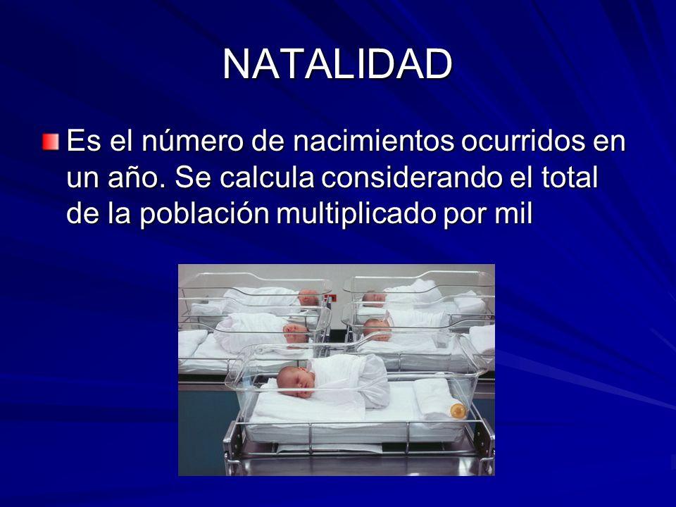 NATALIDAD Es el número de nacimientos ocurridos en un año.