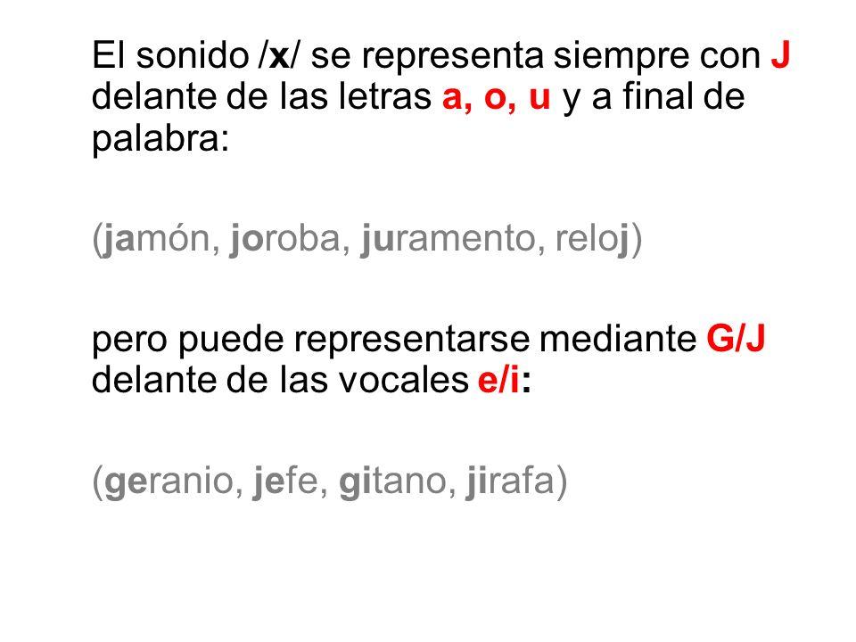 El sonido /x/ se representa siempre con J delante de las letras a, o, u y a final de palabra: