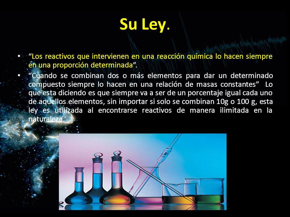 Su Ley. Los reactivos que intervienen en una reacción química lo hacen siempre en una proporción determinada .