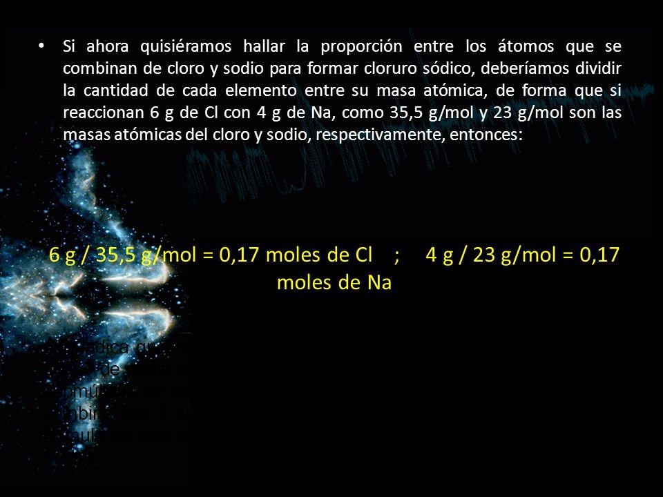 Si ahora quisiéramos hallar la proporción entre los átomos que se combinan de cloro y sodio para formar cloruro sódico, deberíamos dividir la cantidad de cada elemento entre su masa atómica, de forma que si reaccionan 6 g de Cl con 4 g de Na, como 35,5 g/mol y 23 g/mol son las masas atómicas del cloro y sodio, respectivamente, entonces: