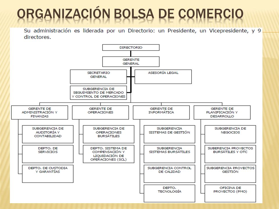 Organización Bolsa de comercio