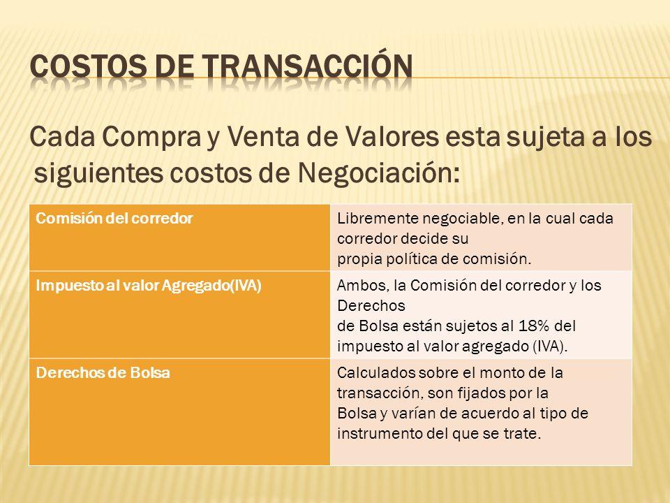 Costos de Transacción Cada Compra y Venta de Valores esta sujeta a los siguientes costos de Negociación: