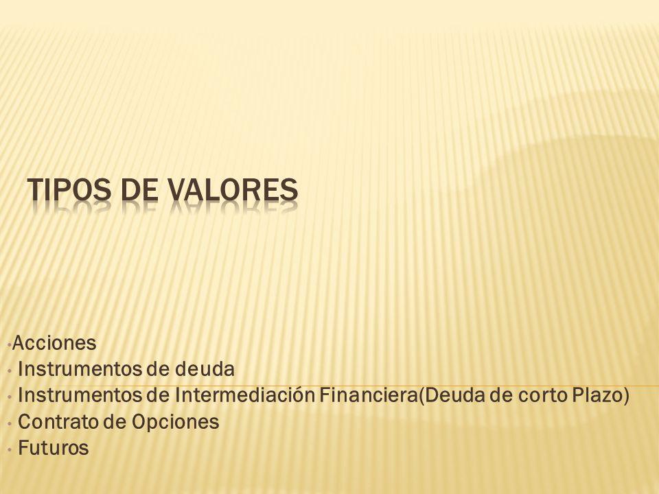 Tipos de Valores Acciones Instrumentos de deuda