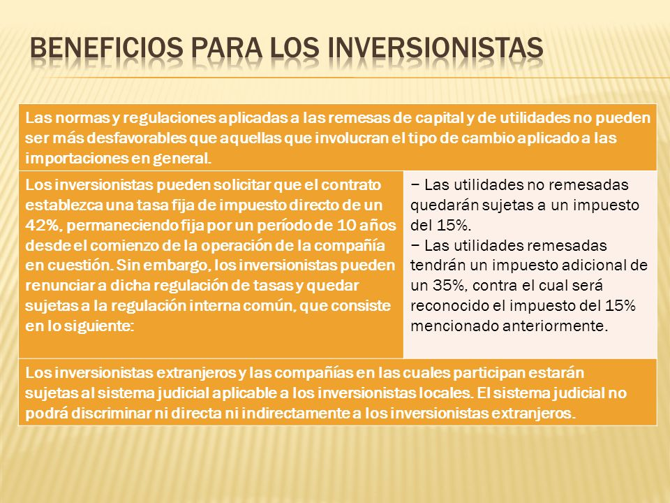 Beneficios para los Inversionistas
