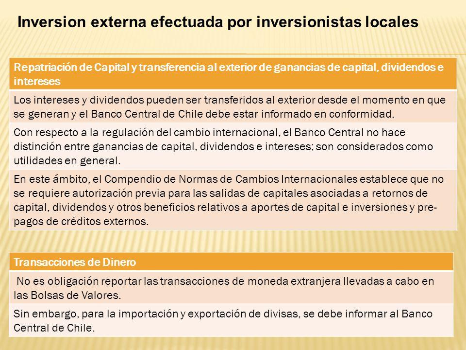 Inversion externa efectuada por inversionistas locales