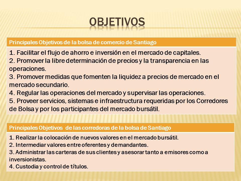 Objetivos Principales Objetivos de la bolsa de comercio de Santiago. 1. Facilitar el flujo de ahorro e inversión en el mercado de capitales.