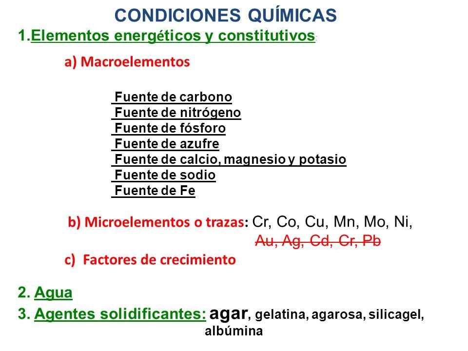 CONDICIONES QUÍMICAS Elementos energéticos y constitutivos: