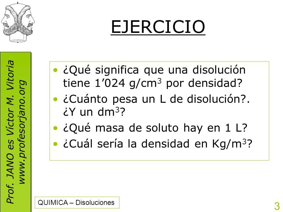 EJERCICIO ¿Qué significa que una disolución tiene 1'024 g/cm3 por densidad ¿Cuánto pesa un L de disolución . ¿Y un dm3