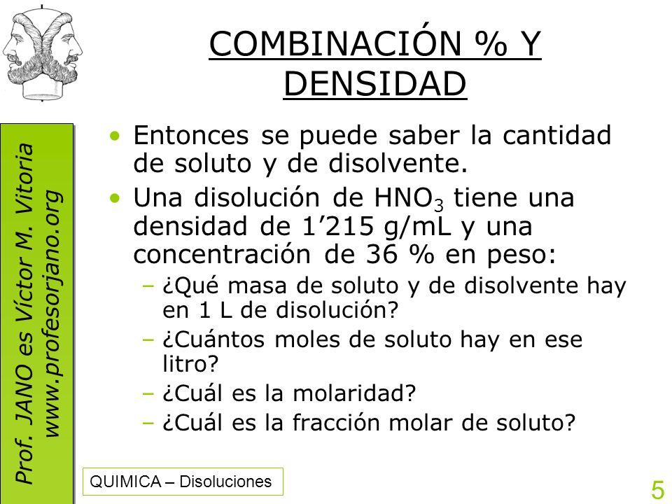 COMBINACIÓN % Y DENSIDAD