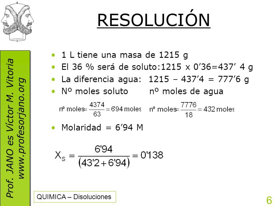 RESOLUCIÓN 1 L tiene una masa de 1215 g