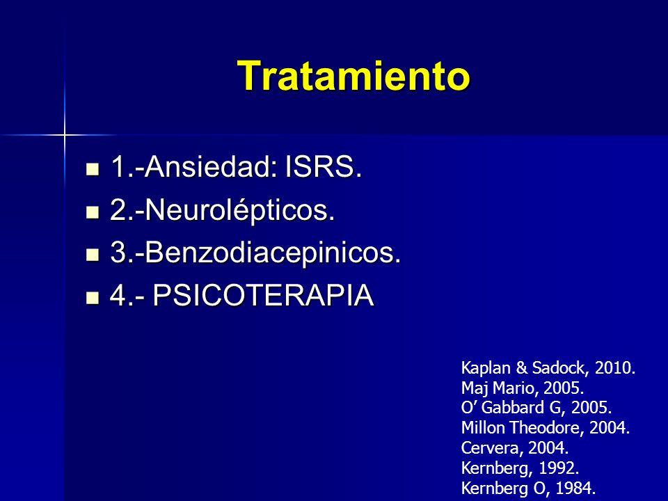 Tratamiento 1.-Ansiedad: ISRS. 2.-Neurolépticos. 3.-Benzodiacepinicos.