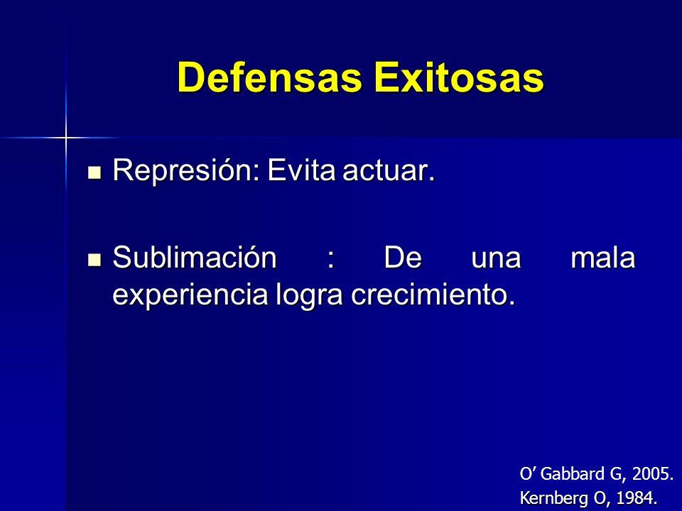 Defensas Exitosas Represión: Evita actuar.