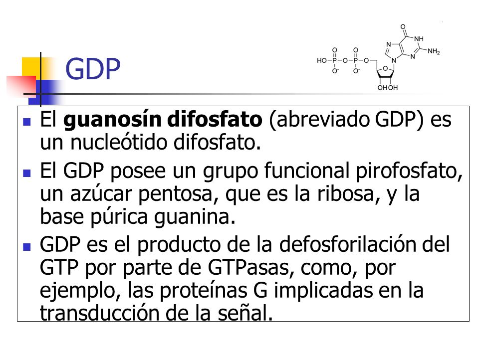 GDP El guanosín difosfato (abreviado GDP) es un nucleótido difosfato.