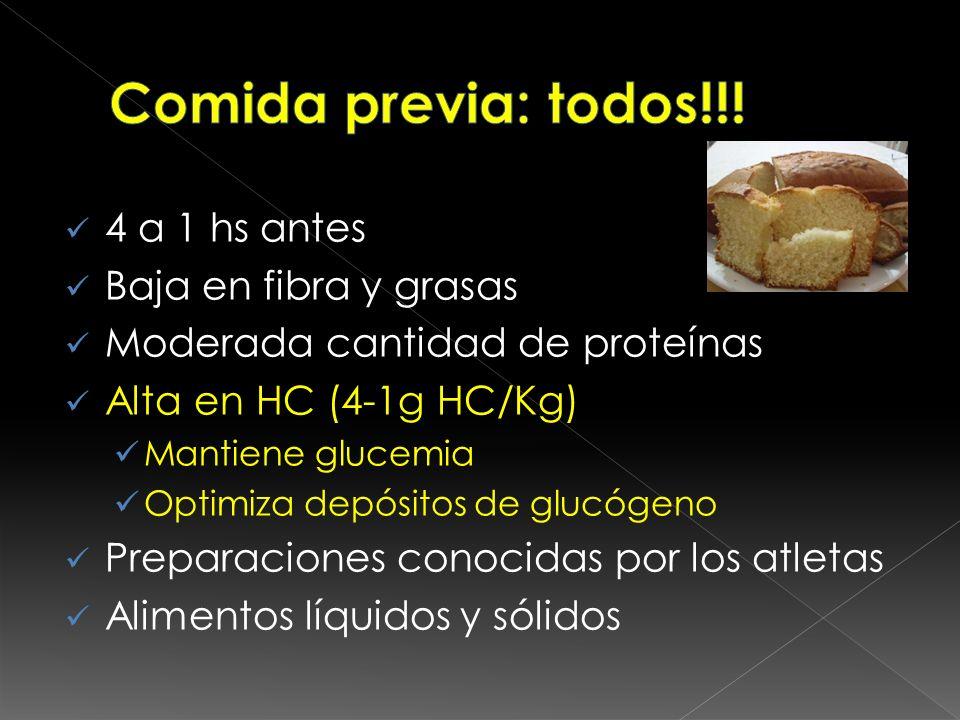 Comida previa: todos!!! 4 a 1 hs antes Baja en fibra y grasas