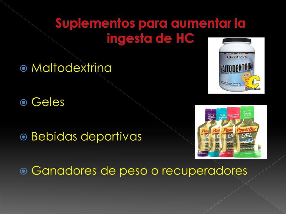 Suplementos para aumentar la ingesta de HC