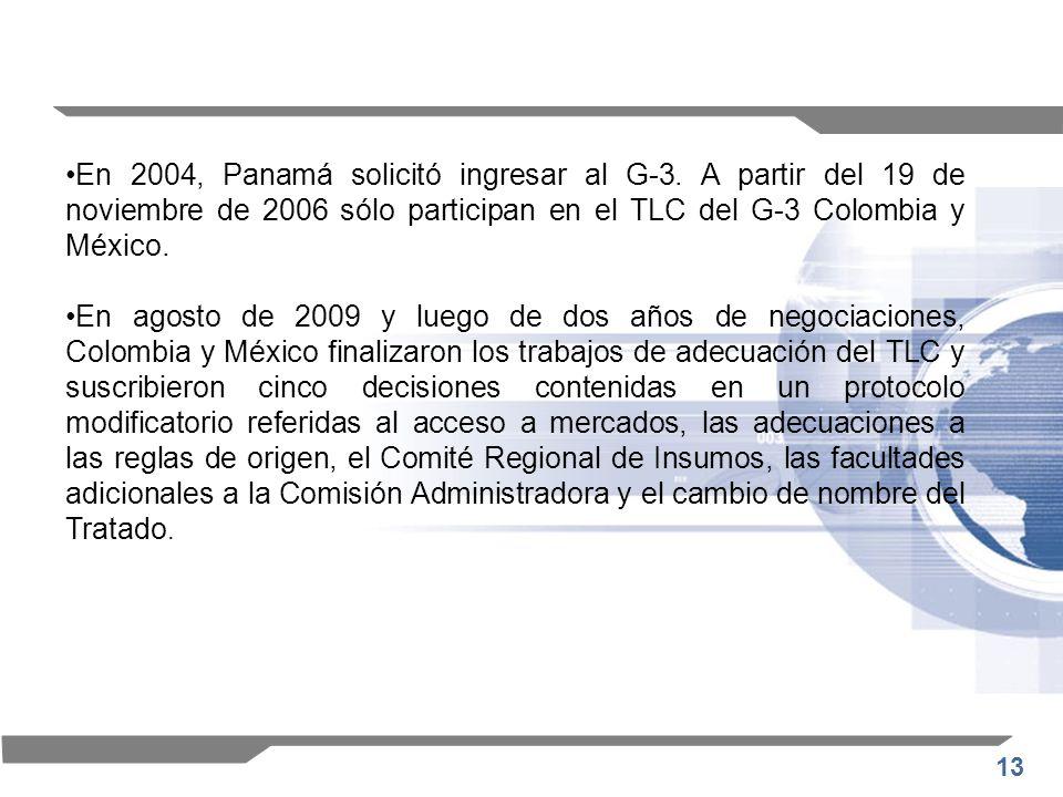 En 2004, Panamá solicitó ingresar al G-3
