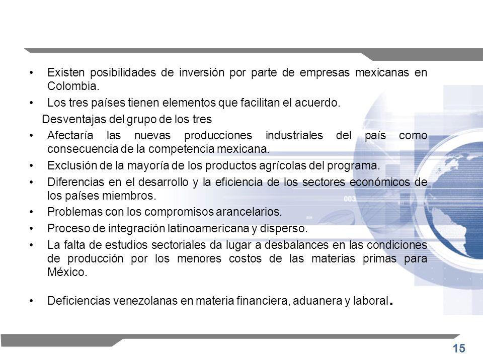 Existen posibilidades de inversión por parte de empresas mexicanas en Colombia.