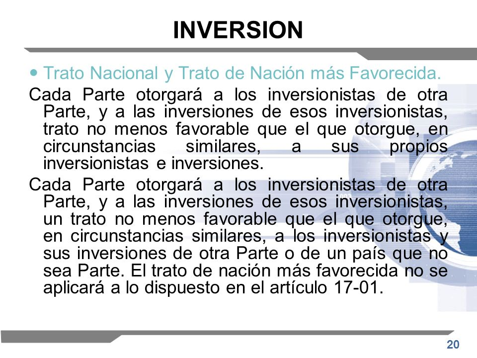 INVERSION Trato Nacional y Trato de Nación más Favorecida.