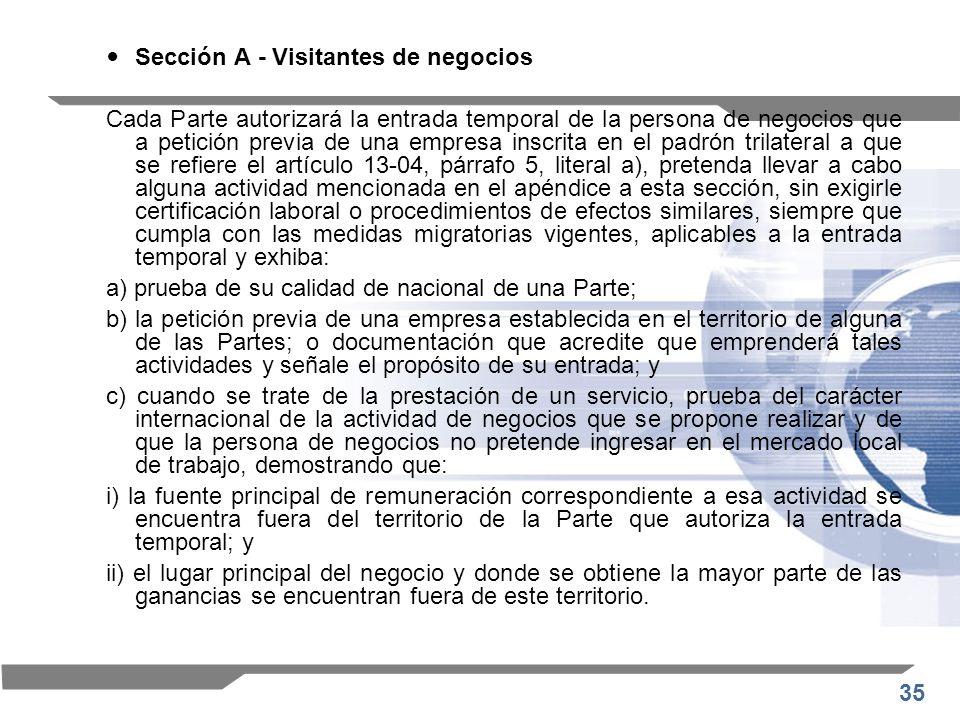 Sección A - Visitantes de negocios