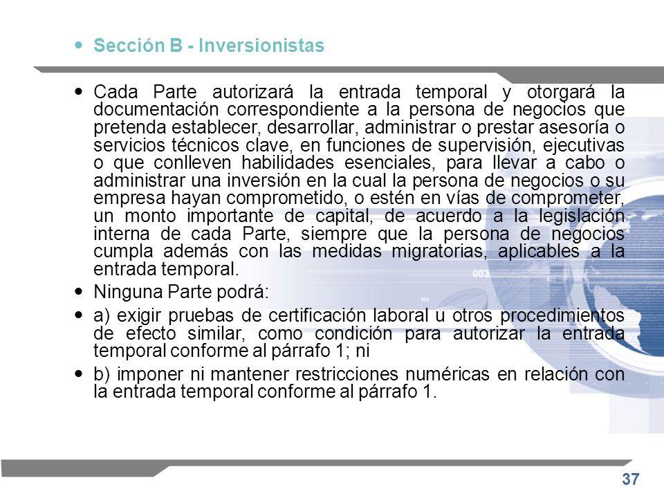 Sección B - Inversionistas