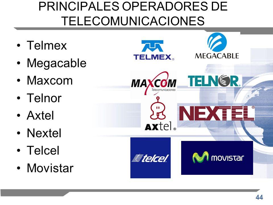 PRINCIPALES OPERADORES DE TELECOMUNICACIONES