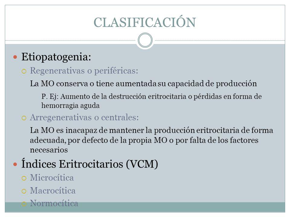 CLASIFICACIÓN Etiopatogenia: Índices Eritrocitarios (VCM)