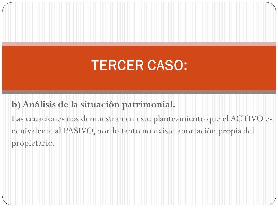 TERCER CASO: b) Análisis de la situación patrimonial.