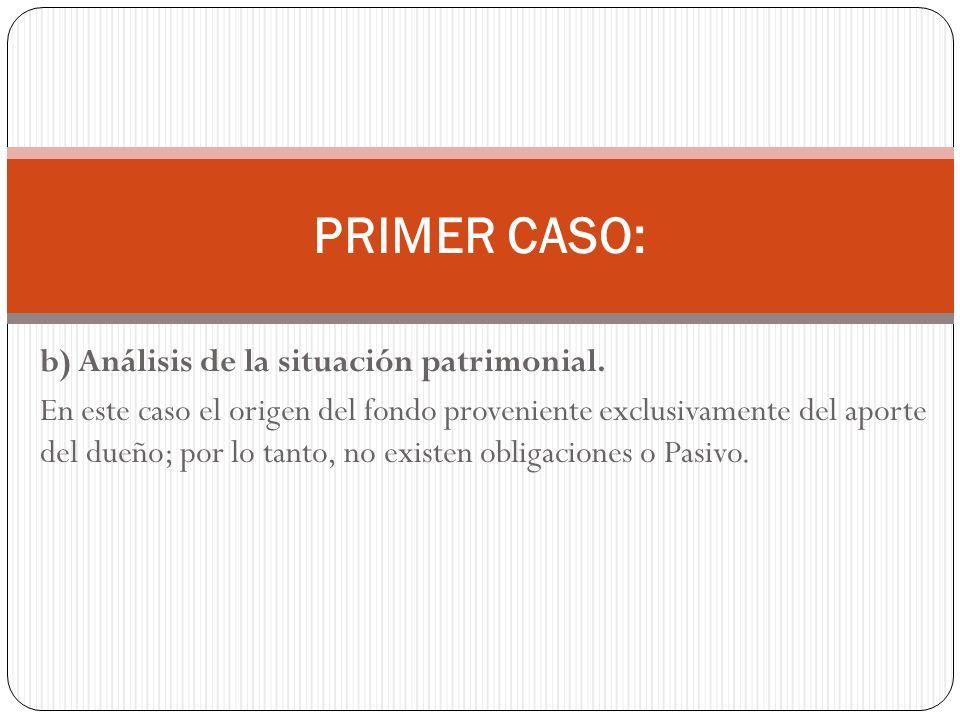 PRIMER CASO: b) Análisis de la situación patrimonial.