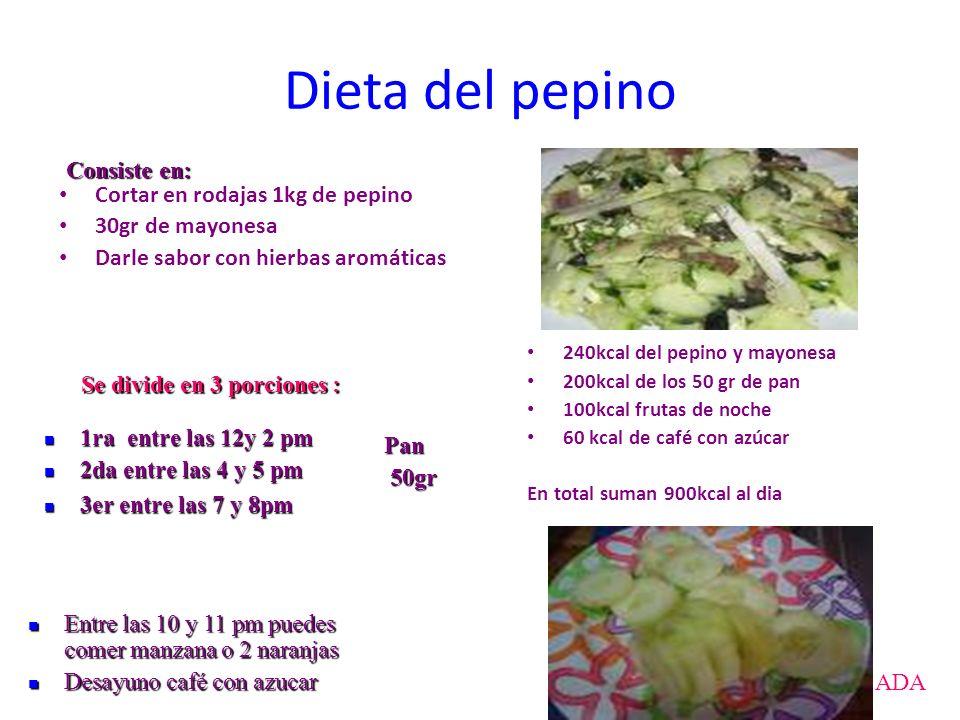 Dieta del pepino Consiste en: Cortar en rodajas 1kg de pepino